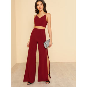 Crop Cami Top & High Slit Pants Co-Ord 2piece - The Voyage Collection