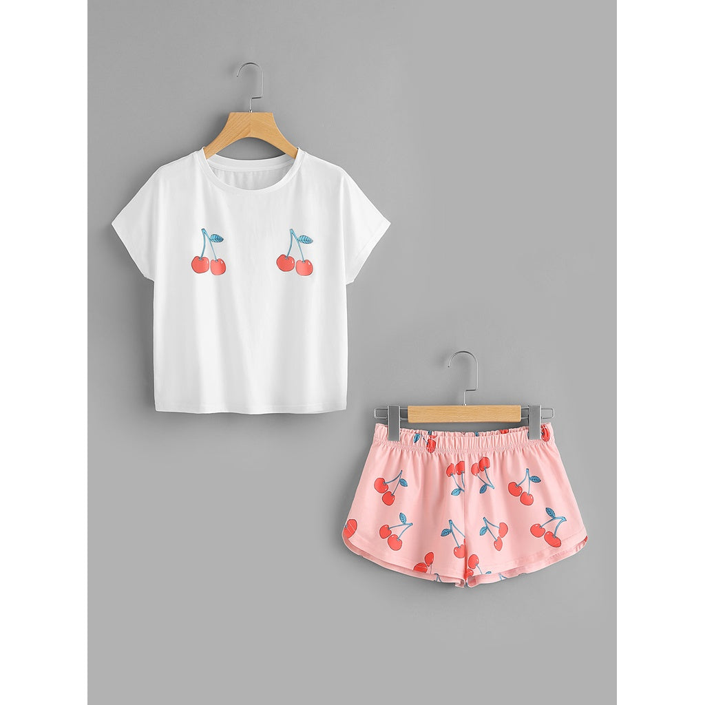 Cherry Print Tee And Shorts Set 2piece - The Voyage Collection