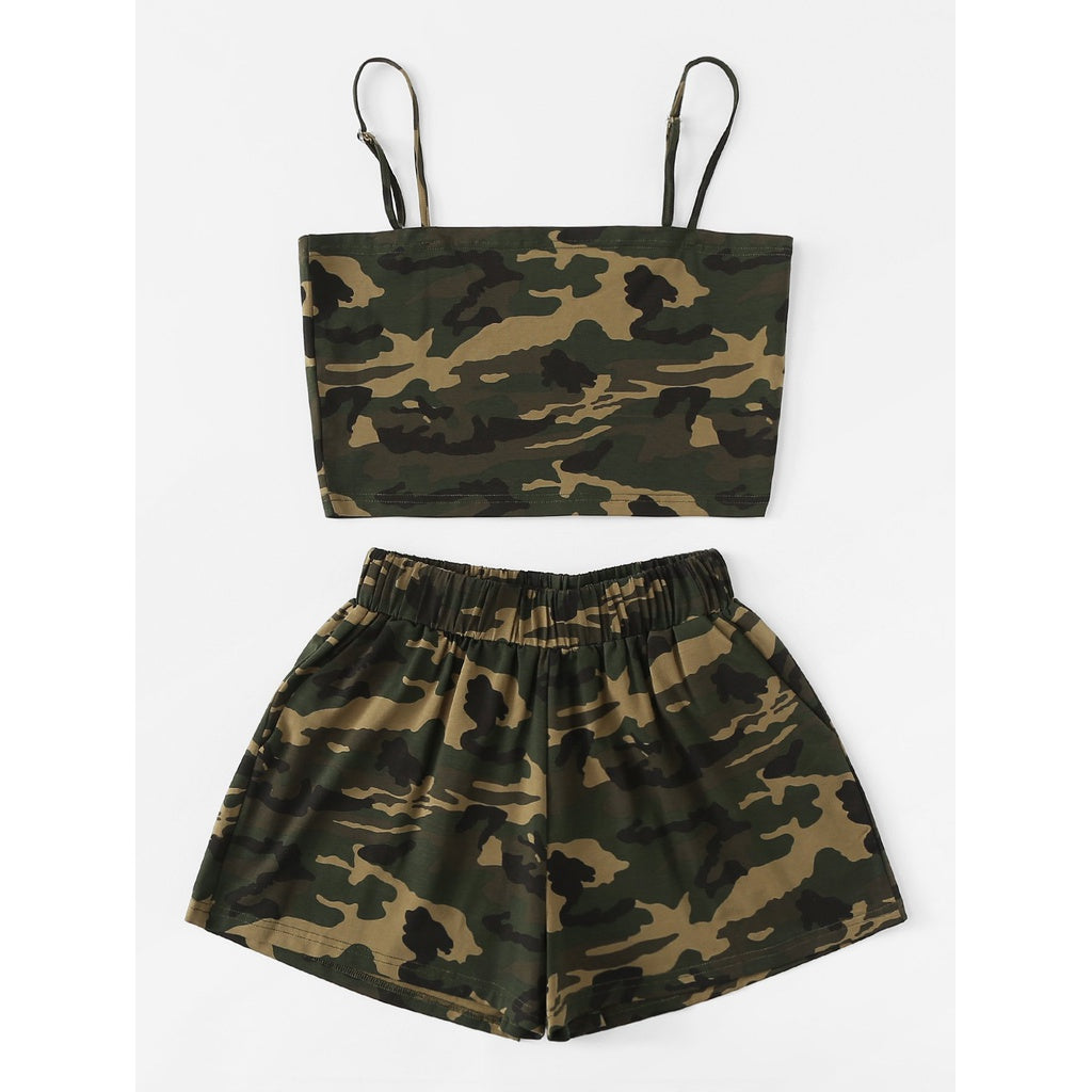 Camo Cami Top With Shorts 2piece - The Voyage Collection