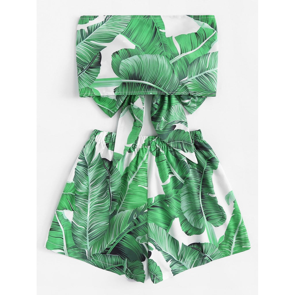 Tie Front Tropical Print Bandeau Top With Shorts 2piece - The Voyage Collection