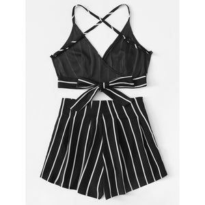 Stripe Surplice Bow Tie Open Back Crop Cami Top With Shorts 2piece - The Voyage Collection