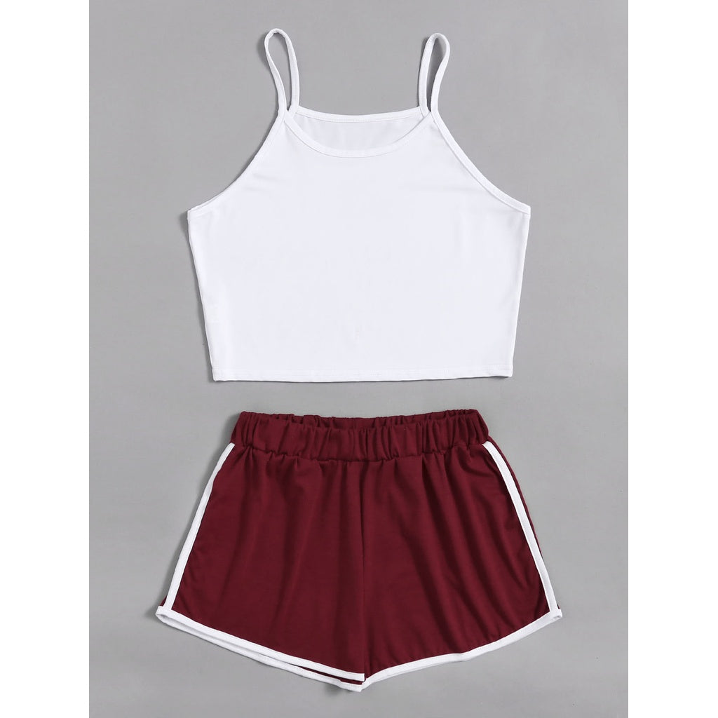 Crop Cami Top With Contrast Trim Shorts 2piece - The Voyage Collection