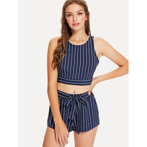 Tied Split Back Pinstripe Top & Shorts Set 2piece - The Voyage Collection