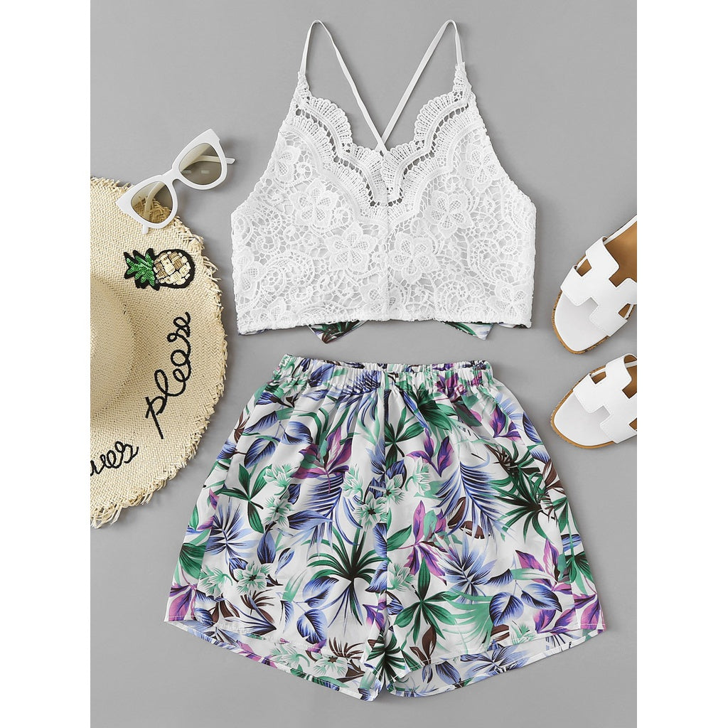 Cross Back Lace Top With Botanical Print Shorts 2piece - The Voyage Collection