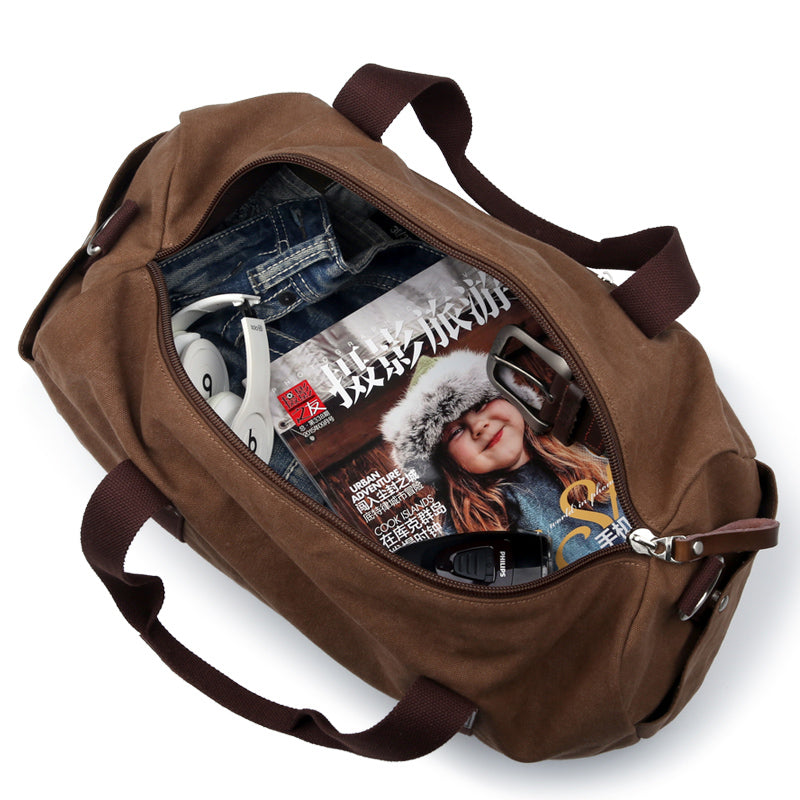 Large Vintage Duffle Bag - Multi Functional Canvas Travel Bag Duffle - The Voyage Collection