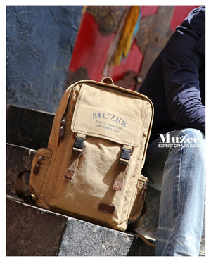 Muzee High Capacity Backpack - Retro Vintage Style Male & Female Canvas Backpack  - The Voyage Collection