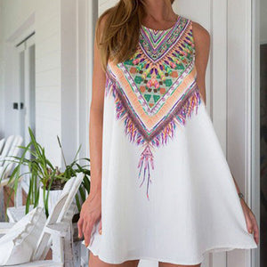 Vintage Print Women Dress Boho Style - Summer Fashion Dress - The Voyage Collection