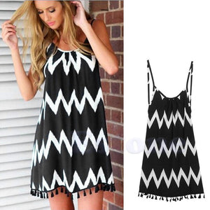 Sleeveless Summer Dress With Black and White Pattern Dress - The Voyage Collection