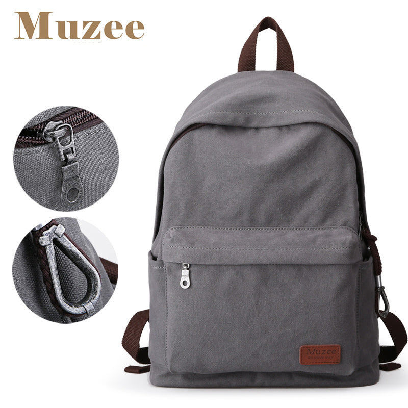 Canvas Backpack/School bag - Vintage Design -  14 inch laptop compartment - Muzee Backpack - The Voyage Collection