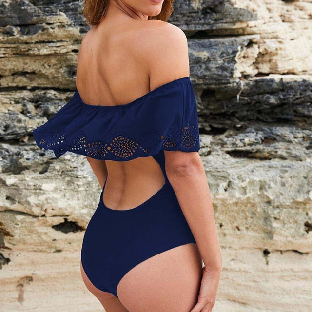 Sexy Off The Shoulder One Piece Swimsuit - Monokini - Summer Fashion swimsuit - The Voyage Collection