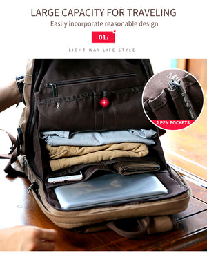 Canvas Backpack/ School Bag - USB port - Vintage Design - 15.6inches laptop compartment -Muzee Backpack - The Voyage Collection