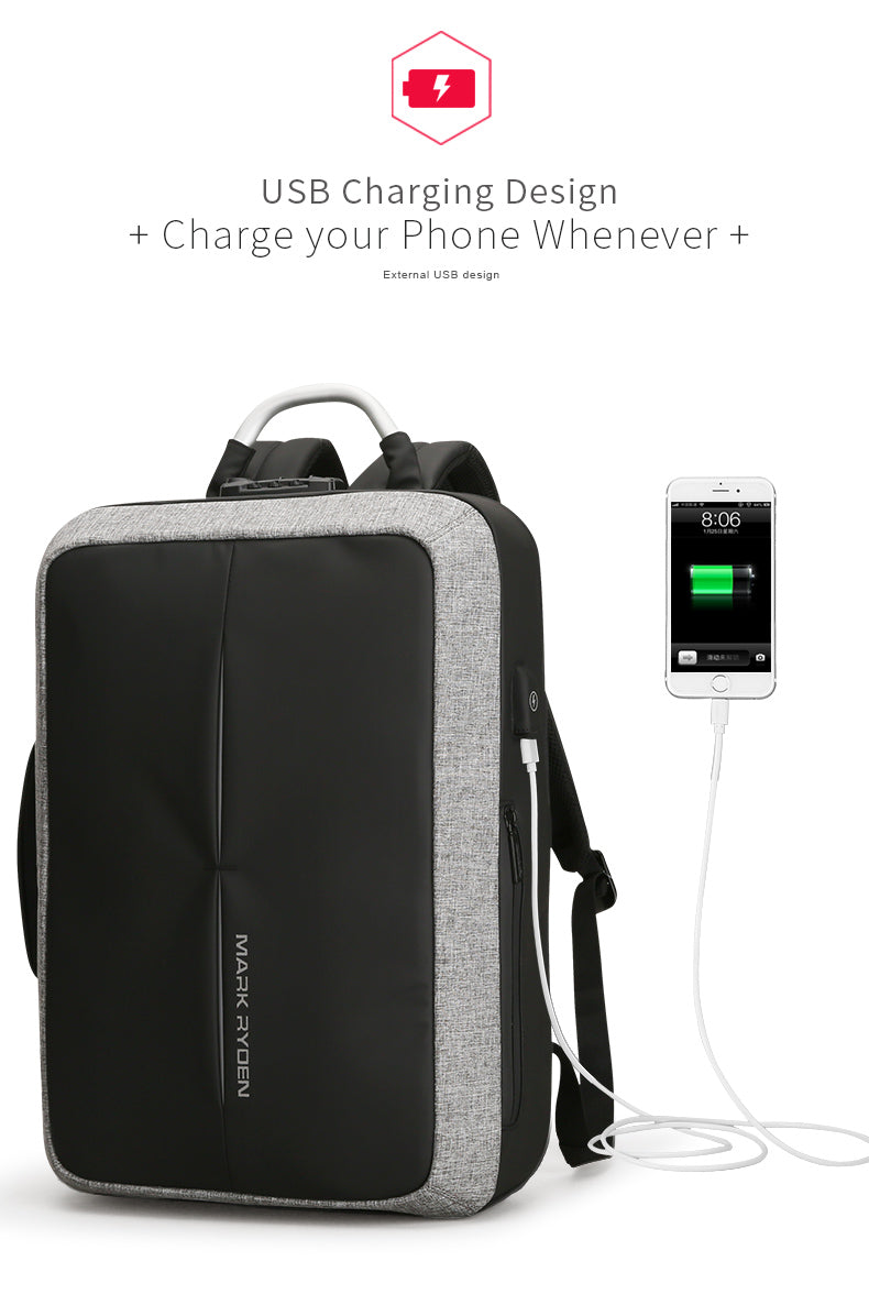 New Anti-thief USB Recharging Backpack - TSA Lock Backpack - The Voyage Collection