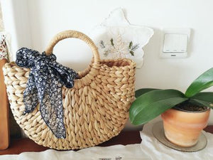 Straw Summer Moon Bag - Fashionable Boho Beach bag Basket - The Voyage Collection