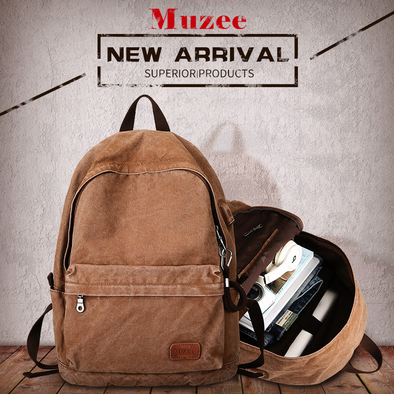 Muzee USB SMART Backpack - Vintage Canvas Backpack Laptop Travel bag  - The Voyage Collection
