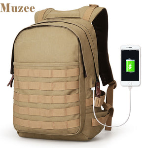 Muzee Canvas USB Charging Tactical SMART Backpack - Military Assault 3 Day Molle Rucksack High Capacity Bag Backpack - The Voyage Collection