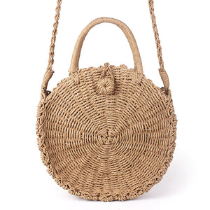 Handmade Woven Straw Round Vintage Handbag - Summer Vibes Basket - The Voyage Collection
