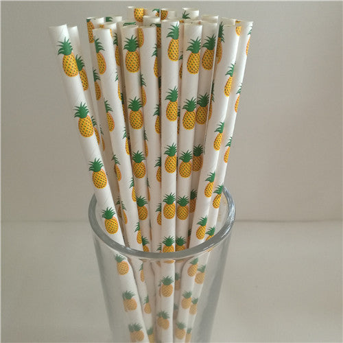 25pcs Eco-friendly Decorative Pattern Paper Straws - Trendy Summer Cocktails Floaties - The Voyage Collection