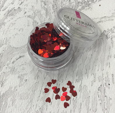 Love Hearts Red Shaped Glitter