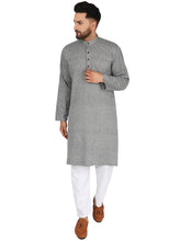 SKAVIJ Men's Tunic Cotton Long Kurta Casual Shirt Modern Fit Lightblack