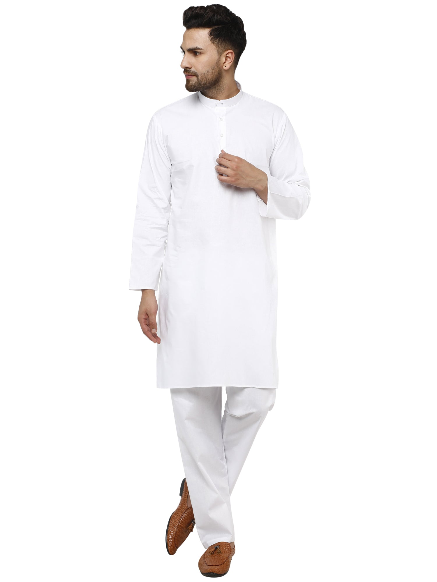SKAVIJ Men's Cotton Kurta Pajama Set Evening Wear Dress