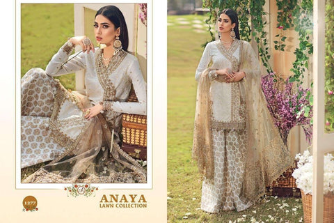 Anaya Pakistani Designer Party Wear Embroidered Lawn Suit