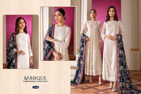 Baroque Pakistani Designer Super Hit White Classic Embroidered Dress - AliShaif