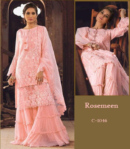 Rosemeen Pakistani Designer Peach Party Wear Embroidered Dress