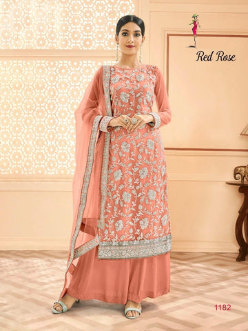 Red Rose Classic Designer Festive & Party Wear Dress - AliShaif