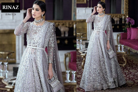 Rinaz Pakistani Designer Grey Net Embroidered Party Wear Dress