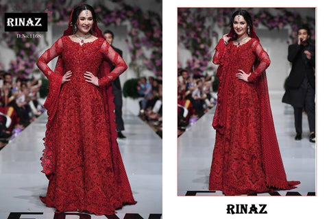 Rinaz Pakistani Designer Red Wedding Collection Dress