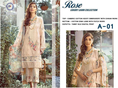 Rose Pakistani Designer Luxury Super Hit Lawn Suit - AliShaif