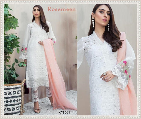 Rosemeen Pakistani Designer Hit Embroidered Chikankaari Lawn Suit