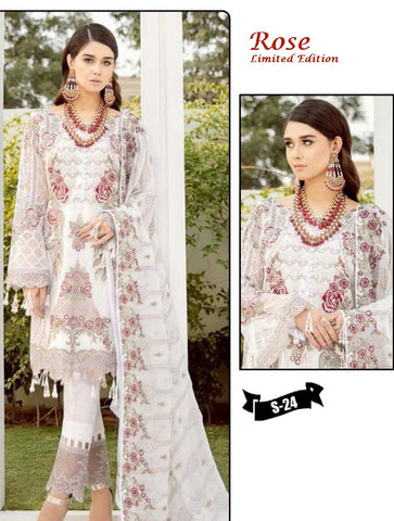 Rose Hit Pakistani Designer White Wedding & Party Wear Dress
