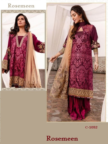 Rosemeen Pakistani Designer Maroon Hit Party Wear Dress