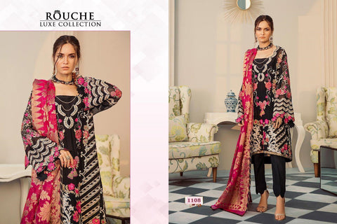 Rouche Luxe Designer Black Party Wear Georgette Embroidered Dress - AliShaif