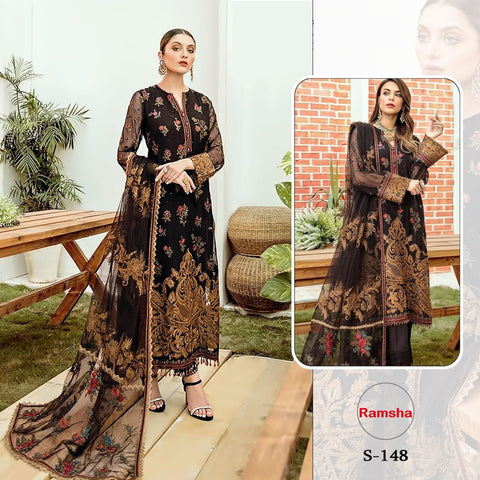 Ramsha Pakistani Designer Black Festive & Party Wear Dress