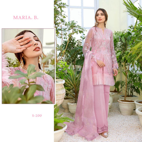 Maria B Pakistani Designer Stylish Pink Party Wear Dress