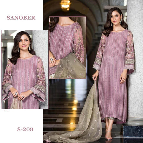 Sanober Pakistani Designer Hit Mauve Party Wear Dress