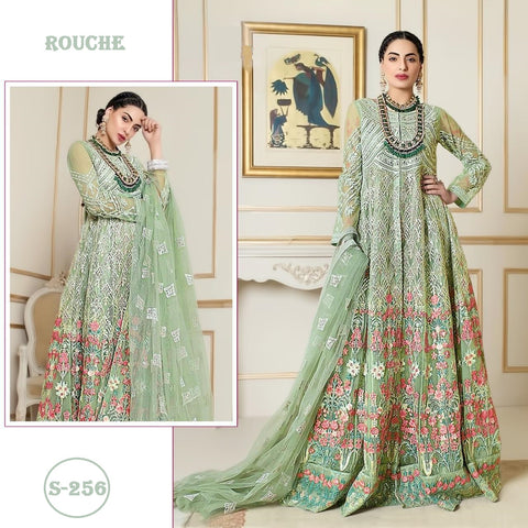 Rouche Pakistani Designer Green Festive & Party Wear Dress