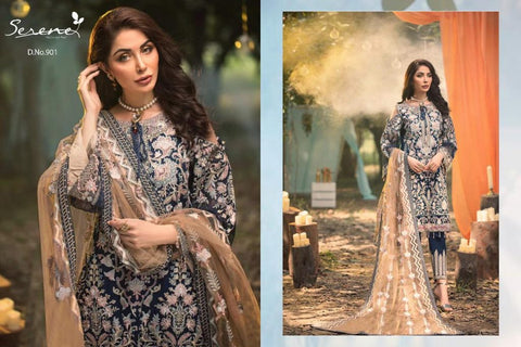 Serene Pakistani Designer Hit Embroidered Party Wear Dress
