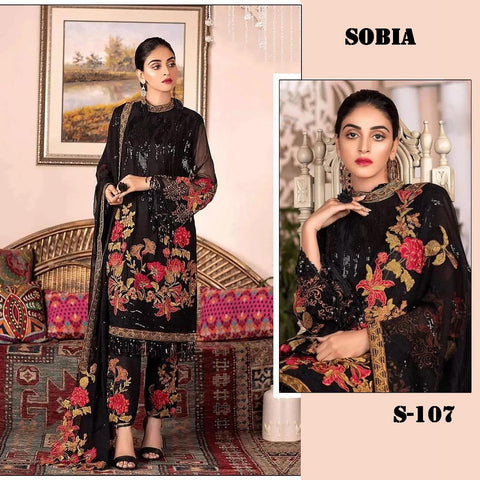 Sobia Pakistani Designer Hit Black Party Wear Dress - AliShaif