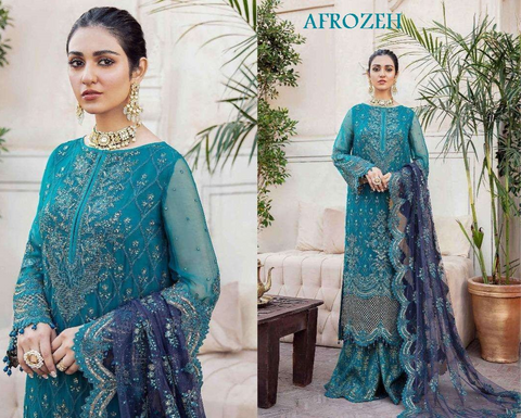 Afrozeh Pakistani Designer Firozi  Hit Party Wear Dress