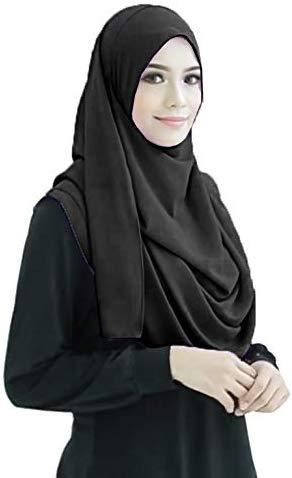 Black 2 Loop Stitched Hijab - AliShaif