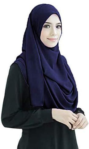 Navy Blue 2 Loop Stitched Hijab - AliShaif