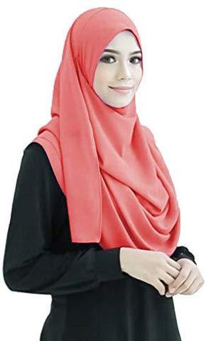 Peach 2 Loop Stitched Hijab - AliShaif