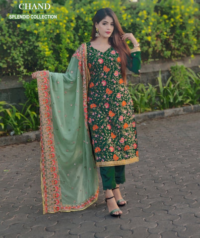 Chand Pakistani Designer Awesome Beautiful Embroidered Party Wear Dress