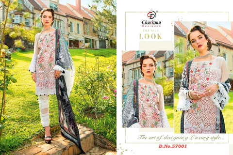 Charizma Pakistani Designer Classic Stylish Embroidered Lawn Suit - AliShaif