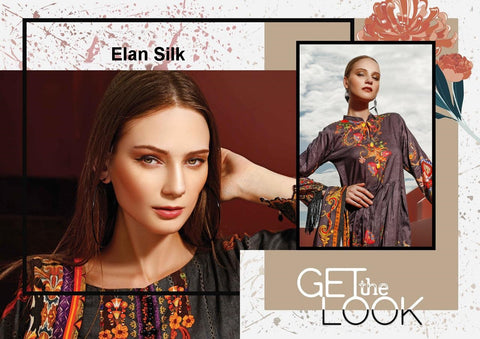 Elan Lawn Pakistani Designer Pure Silk Satin Embroidered Dress - AliShaif