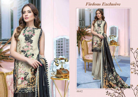 Firdous Exclusive Designer Pure Cotton Embroidered Dress