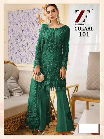 Gulaal Pakistani Designer Green Hit Party Wear Embroidered Dress - AliShaif